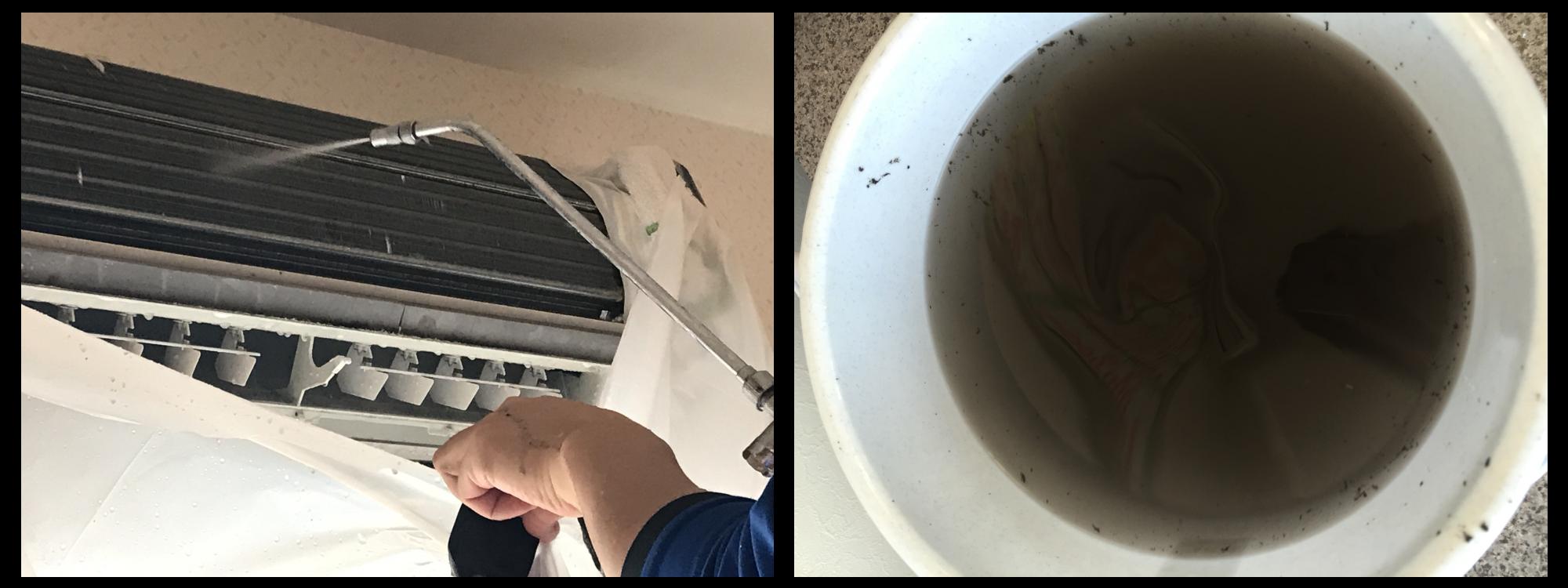 ❺内部高圧洗浄、内部の汚れで黒くなった水